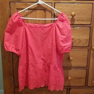 Ann Taylor Eyelet Peplum Top in Hot Hibiscus